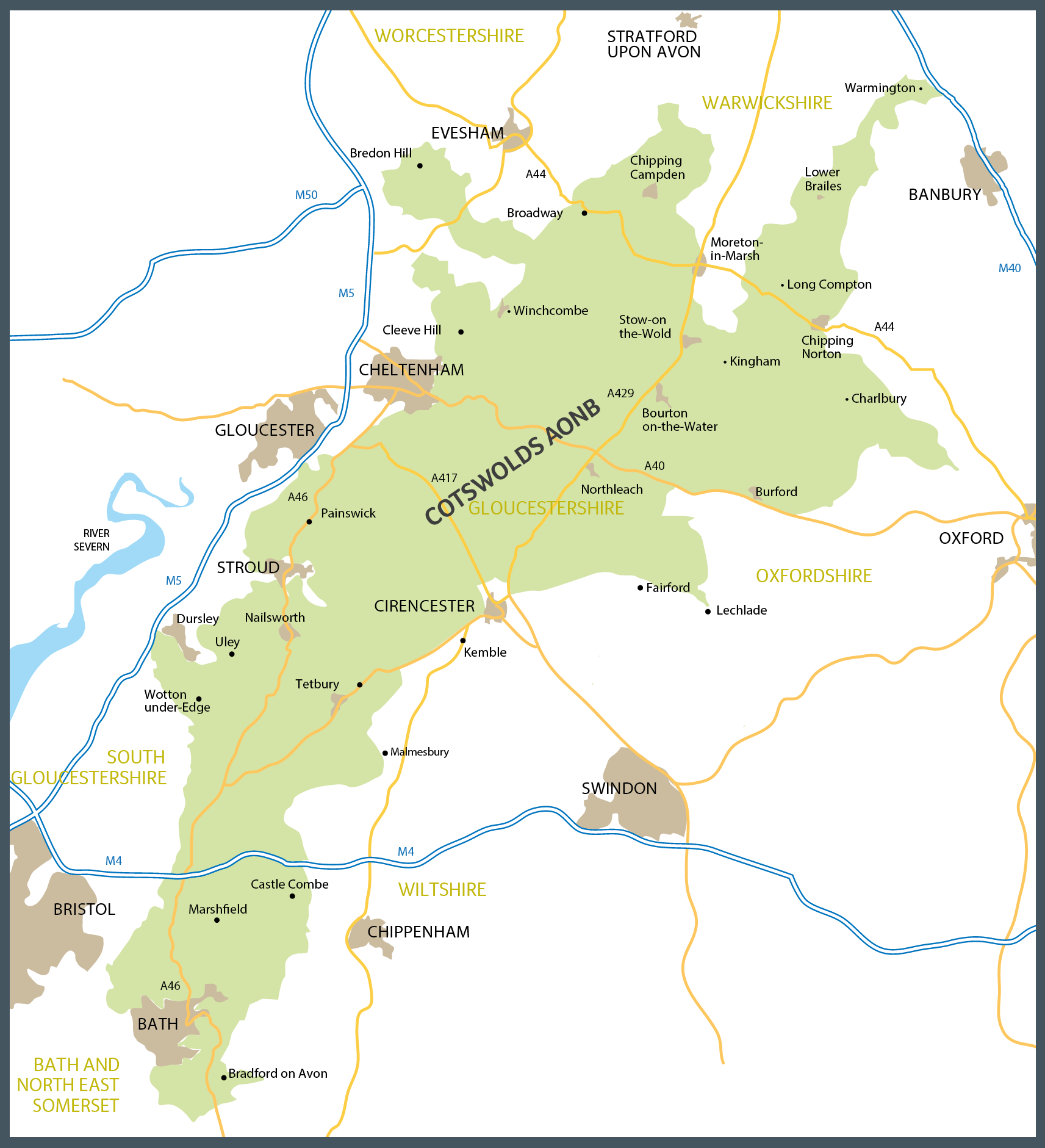 Map Of The Cotswolds Cotswolds Map | Cotswold Maps | Cotswolds AONB Map Of The Cotswolds