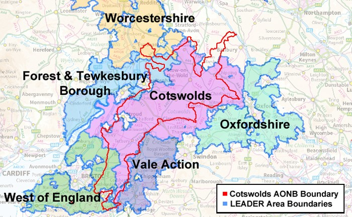 Map Of The Cotswolds Cotswolds LEADER Eligible Area   Cotswolds AONB Map Of The Cotswolds