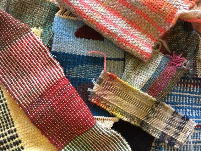 Woollen samples from our Wool Weaving Course